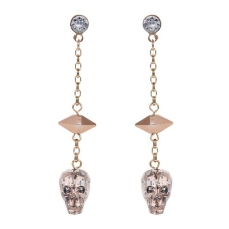 Glass Skull & Spike Earrings Rose Gold A