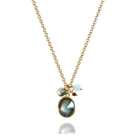 Tell Me A Story Necklace - Grey Aqua with Gold