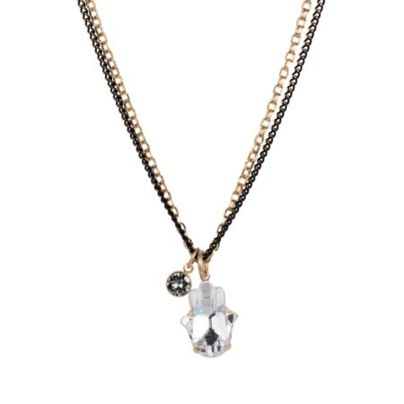 Hamsa Necklace Black Gold 01