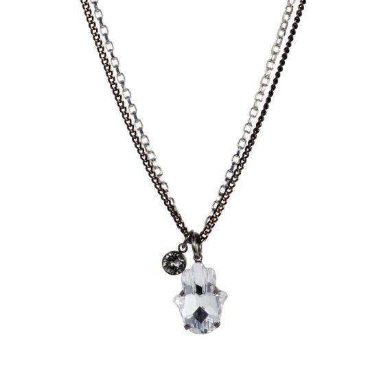 Hamsa Necklace Gunmetal Silver 01