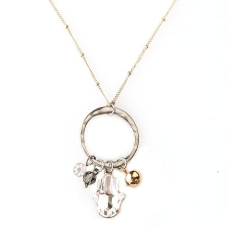 Hamsa Amulet Necklace - Silver & Gold Mix