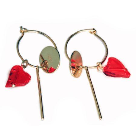 Hoop Cluster Earrings - Red & Gold 001