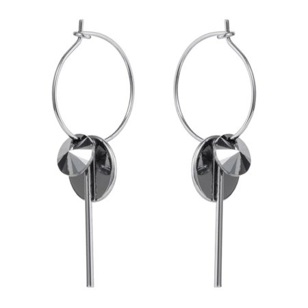 Hoop Cluster Earrings - Silver Chrome
