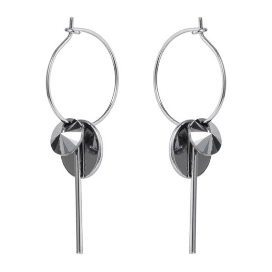 Hoop Cluster Earrings Silver Chrome