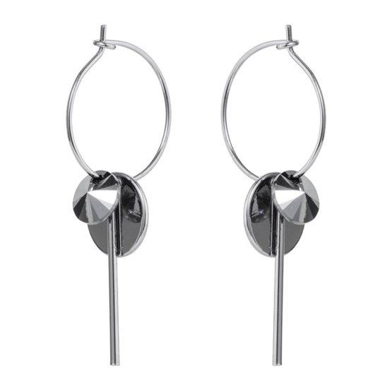 Hoop Cluster Earrings Silver Chrome
