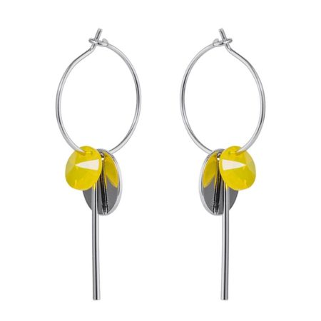 Hoop Cluster Earrings - Silver Yellow