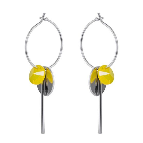 Hoop Cluster Earrings Silver Yellow - 001
