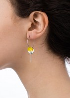 Hoop Cluster Earrings Silver Yellow - 002