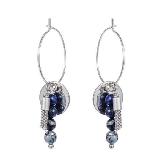 Hoop & Tassle Earrings - Lapis - 001