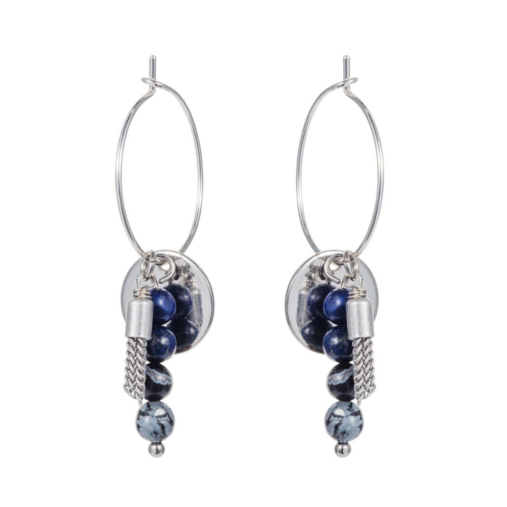 Hoop & Tassle Earrings - Lapis - 001