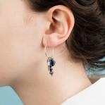 Hoop & Tassle Earrings - Lapis - 002