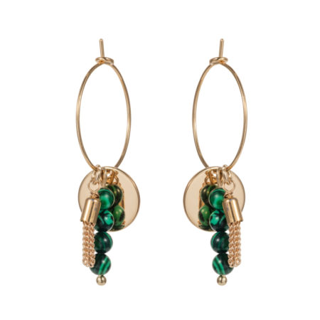 Hoop & Tassle Earrings - Malachite - 001