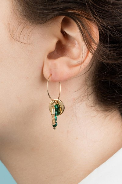 Hoop and Tassel Earrings Malachite - Lookbook