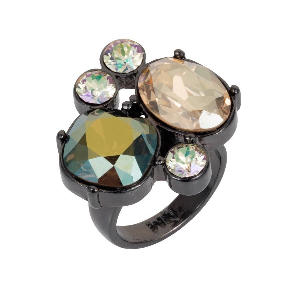 The Kate Cocktail Ring Soft Gold & Iridescent Green ...
