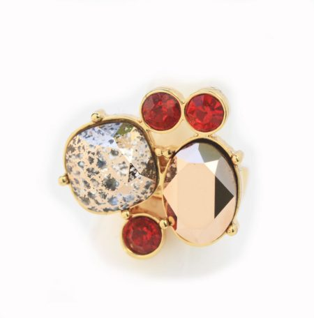 Kate Cocktail Ring Red & Gold - 001