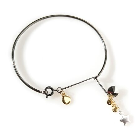 Skinny Star Bangle - Gunmetal Mix