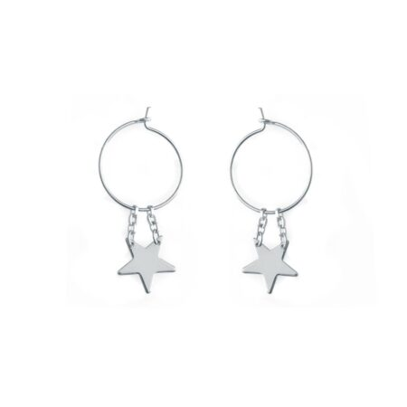 Star Hoop Earrings Silver