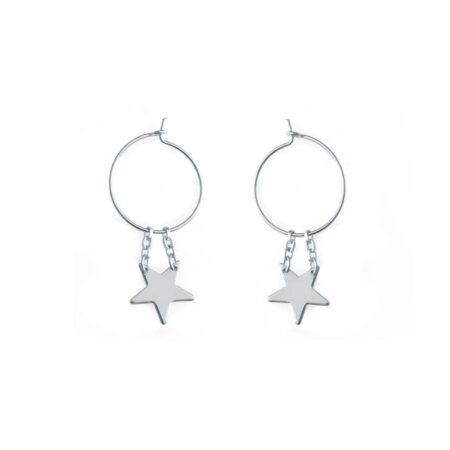 Star Hoop Earrings Silver