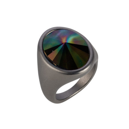 Oval Ring - Matt Gunmetal & Rainbow Dark