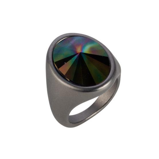 Nadia Minkoff London - Oval Ring - Matt Gunmetal & Rainbow Dark - 001