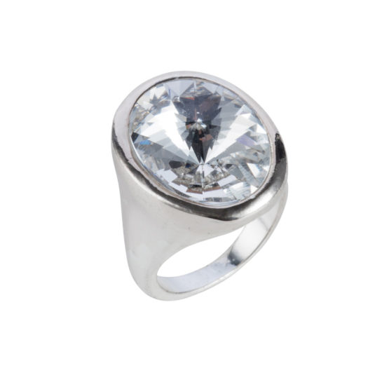 Nadia Minkoff London - Oval Ring - Silver with Crystal Shade - 001