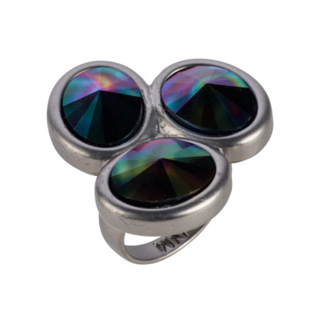 Triple Stone Oval Ring - Matt Gunmetal & Rainbow Dark
