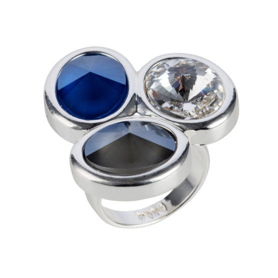 Nadia Minkoff London - Triple Stone Oval Ring - Silver with Blue & Grey Mix - 001