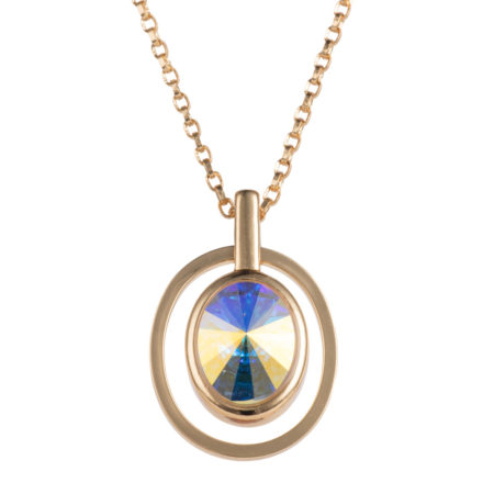 Nadia Minkoff - Oval Pendant Necklace - Gold & Crystal AB - 001