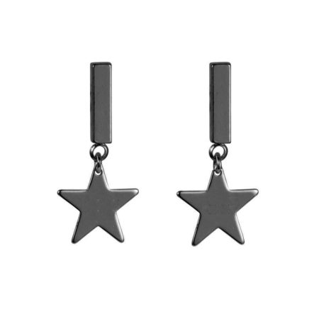 Star Earrings - Gunmetal