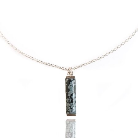 Nova Vertical Necklace - Snowflake Obsidian