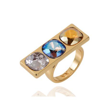 Nova Crystal Ring - Gold with Blue Shimmer