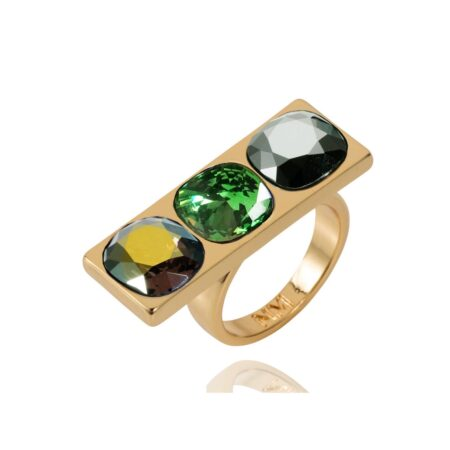 Nova Crystal Ring - Gold with Iridescent Green