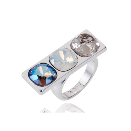 Nova Crystal Ring - Silver with Blue Shimmer