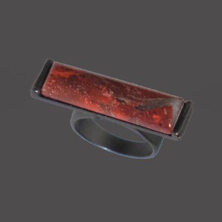 Nova Semi Precious Stone Ring - Rainbow Jasper with Gunmetal