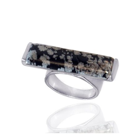 Nova Semi Precious Stone Ring - Snowflake Obsidian