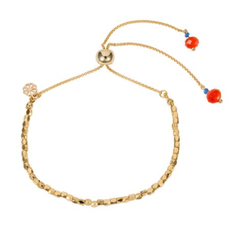 Nugget Bracelet - Gold with Vibrant Orange