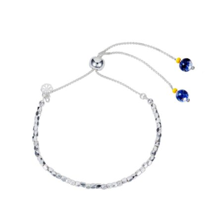 Nugget Bracelet - Silver with Lapis