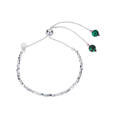 Nugget Bracelet - Silver with Malachite and Pink