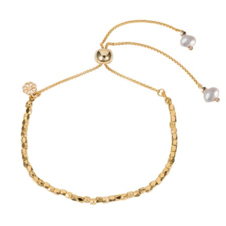 Nugget Bracelet - Gold with Freshwater Pearl