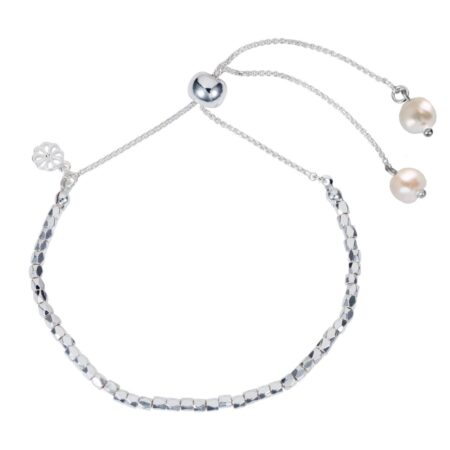 Nugget Bracelet - Silver with Freshwater Pearl
