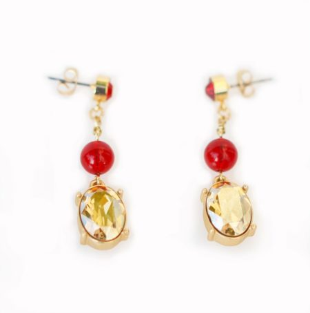 Oval Crystal Drop Earrings - Red & Gold