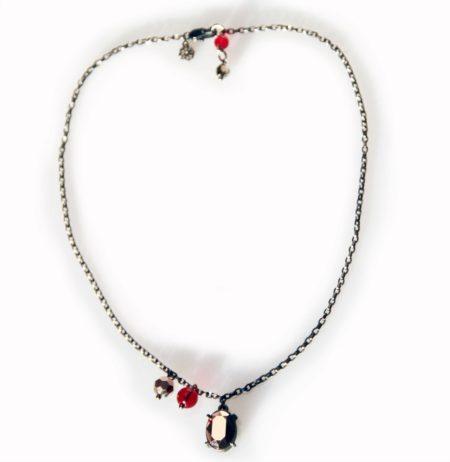 Oval Crystal Necklace - Gunmetal & Rose Gold - 002