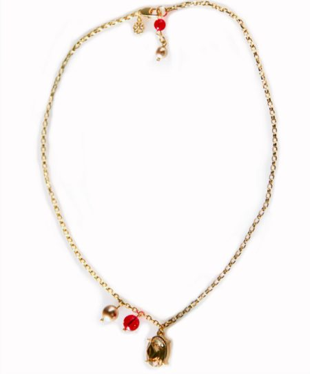 Oval Crystal Necklace - Red & Gold 002
