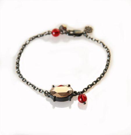 Oval Stone Bracelet - Gunmetal & Rose Gold - 001