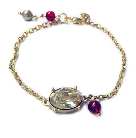Oval Stone Bracelet - Red & Gold - 002