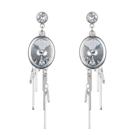 Oval Cluster Earrings - Silver & Crystal