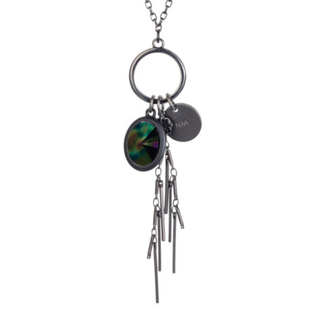 Oval Crystal Cluster Necklace - Petrol & Gunmetal
