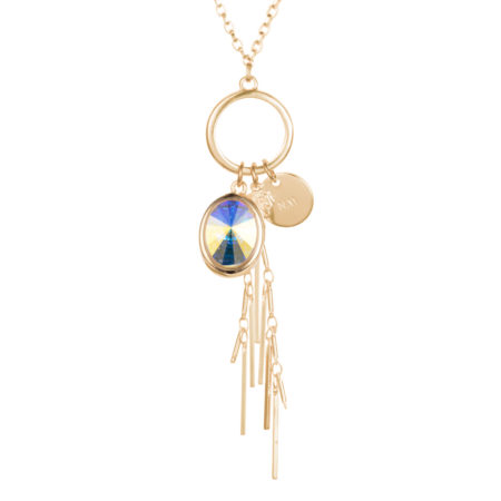 Oval Crystal Cluster Necklace - Aurora & Gold