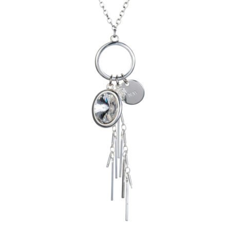 Oval Crystal Cluster Necklace - Crystal & Silver