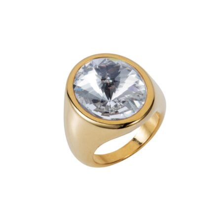 Oval Ring - Gold with Crystal